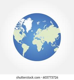 Round globe world map. Flat vector illustration EPS 10
