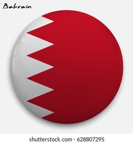 Round glossy Button with flag of Bahrain with the reflection of light and shadow realistic. Icon of country.