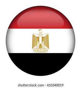 Round glossy Button with flag of Egypt