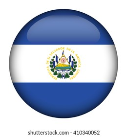 Round glossy Button with flag of El Salvador