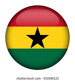 Round glossy Button with flag of Ghana