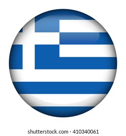 Round glossy Button with flag of Greece