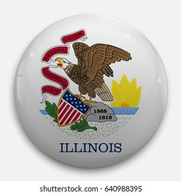 Round glossy Button with flag of Illinois, state of the USA, with the reflection of light and shadow realistic.