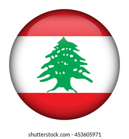 Round glossy Button with flag of Lebanese Republic