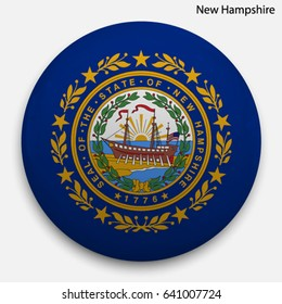 Round glossy Button with flag of New Hampshire, state of the USA, with the reflection of light and shadow realistic.