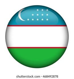 Round glossy Button with flag of Uzbekistan