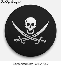 Round glossy Button with Jolly Roger with the reflection of light and shadow realistic.