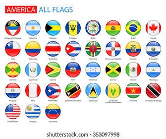 Round Glossy Flags of America - Full Vector Collection Vector Set of American Flag Icons: North America, Central America, South America