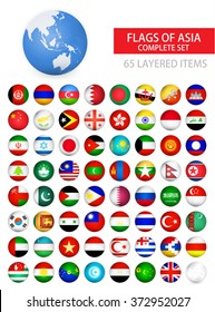 Round Glossy Flags of Asia Complete Set. Flag set in alphabetical order.All elements are separated in editable layers clearly labeled.