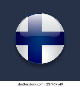 Round glossy icon with national flag of Finland on dark blue background