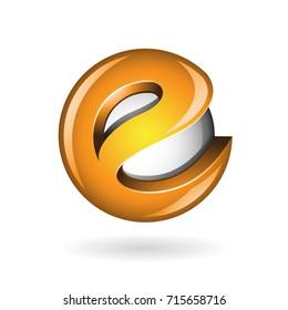 Round Glossy Letter E 3d Orange Logo Shape Vector Illustration