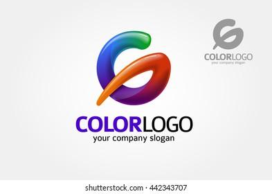 Round Glossy Letter G 3d rainbow Logo Shape Vector Illustration