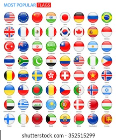 Round Glossy Most Popular Flags - Vector Collection Vector Set of National Flag Icons
