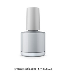 Round glossy nail polish bottle with cap. Realistic packaging mockup template. Front view. Vector illustration.
