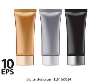Round glossy plastic jar for cosmetics. Vector 3d illustration set