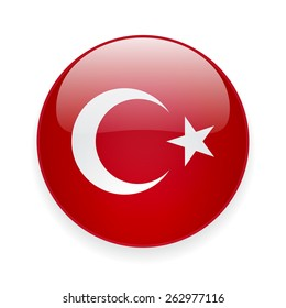 Round glossy vector icon with national flag of Turkey on white background