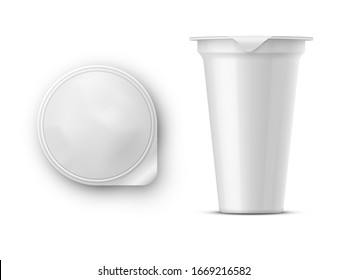 Round glossy white realistic vector pot with a lid of foil for storing yogurt, sour cream and other dairy products and desserts