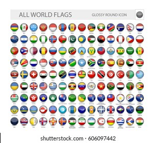 Round Glossy World Flags Vector Collection. Part 2.