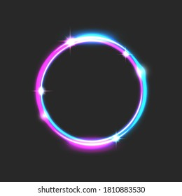 Round glowing frame bright futuristic with the effect of neon light, blue-pink laser beam in the form of a circle, sparks, electrified purple space ring portal.