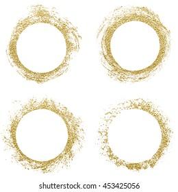Round gold border frame. Abstract hand sketched shapes, design elements. Gold glitter stamp. Vector Illustration.