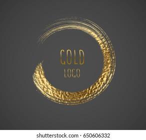 Round gold brush border texture background. Golden sparkle glossy grunge splash frame. Vector circle shiny logo element pattern for web banner, label or card design.