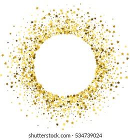 Round gold frame or border of random scatter golden stars on white background. Design element for festive banner, birthday and greeting card, postcard, wedding invitation. Vector illustration