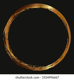 Round gold frame on a black background. Drawn textured borders for graphic design or decoration. Gold border.