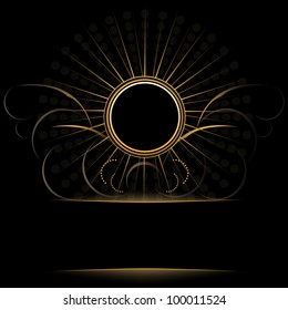 round gold frame with Victorian wings Dark background