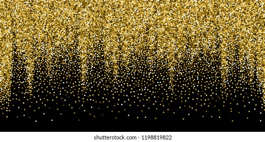 Round gold glitter luxury sparkling confetti. Scattered small gold particles on black background. Awesome festive overlay template. Optimal vector illustration.