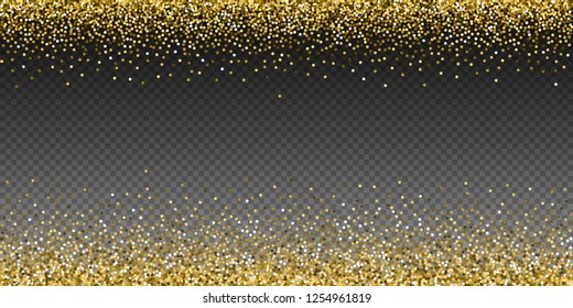 Round gold glitter luxury sparkling confetti. Scattered small gold particles on transparent background. Artistic festive overlay template. Trending vector illustration.
