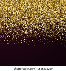 Round gold glitter luxury sparkling confetti. Scattered small gold particles on red maroon background. Alluring festive overlay template. Terrific vector illustration.