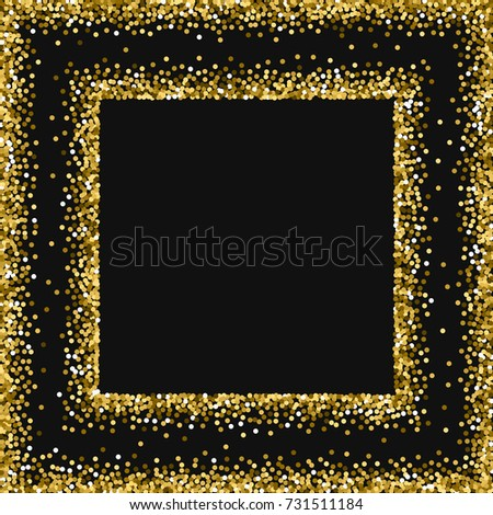 befcf11d6766 Round gold glitter. Square abstract frame with round gold glitter on black  background. Beautiful