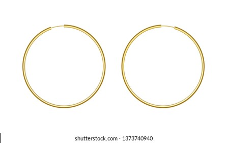 Round golden earrings mockup isolated on white background. Female gold bracelets couple. Elegant and romantic gift. Finest quality. Vector design element.