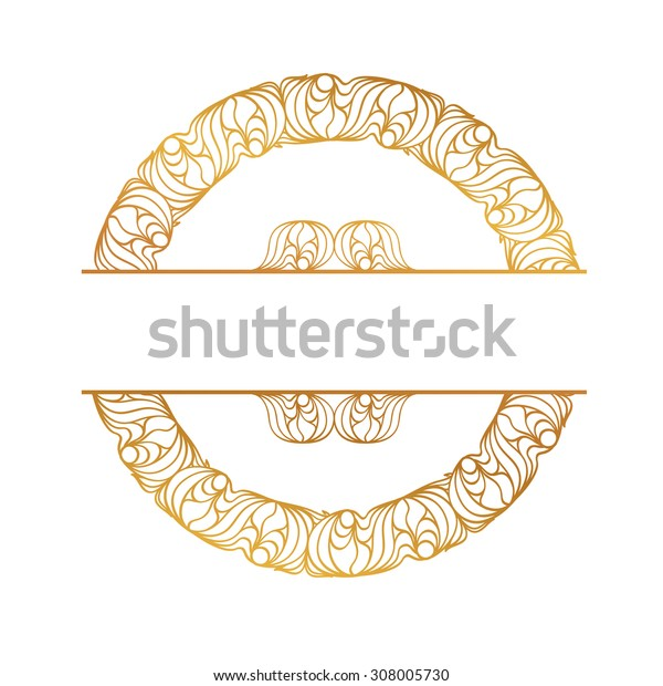 Round golden frame on the white background. There is a seamless border in the brush palette