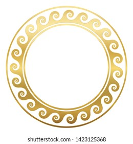 Round golden frame with spirals or waves, seamless greek pattern. Decorative antique border, repeated geometric motif. Isolated vector on white background.