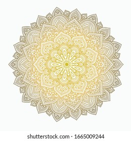Round golden mandala vector. Traditional oriental ornament with a concentric pattern. Vector element for applying to objects for yoga, meditation, spiritual practices.