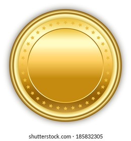 Round golden vector medal with stars and shadow.