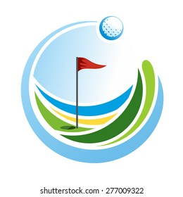 Round golf emblem with a ball and a flag on the green field