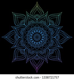Round gradient mandala on Black isolated background. Vector boho mandala in pink colors. Mandala with floral patterns. Circular pattern in form of mandala for Henna, tattoo, decoration. - Vector