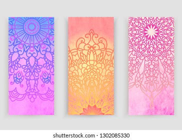 Round gradient mandala on watercolor trace background. Vector boho mandala in green and pink colors. Mandala with floral patterns. Yoga template