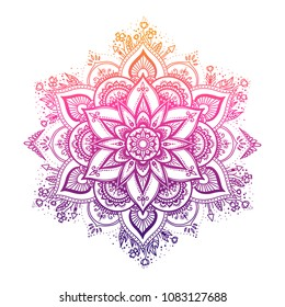 Round gradient mandala on white isolated background. Vector boho mandala in green and pink colors. Mandala with floral patterns. Yoga template