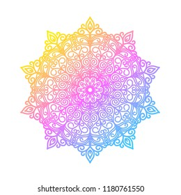 Round gradient mandala on white isolated background.