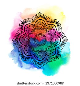Round gradient mandala on white isolated background. Mandala over colorful watercolor. Beautiful vintage round pattern.