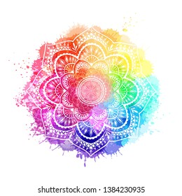Round gradient mandala on white isolated background. Mandala over colorful watercolor. Beautiful vintage round pattern. - Vector
