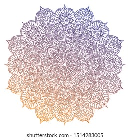 Round gradient mandala on white background. Mandala with detailed heaven, sun, moon and earth patterns.