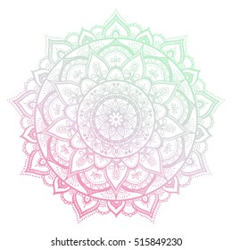Round gradient mandala on white isolated background. Vector hipster mandala in green and pink colors. Mandala with floral patterns. Yoga template.