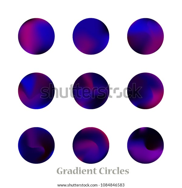 Round gradient set of vibrant colorful fluid abstract blurs design elements. Gradient colorful covers for calendars, brochures, cards. Soft and smooth color. Round gradient for mobile apps, screens.