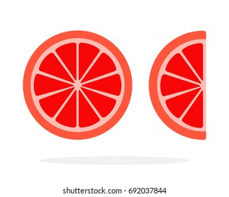 A round grapefruit slice and a grapefruit wedge vector flat material design isolated on white
