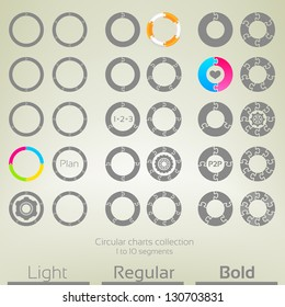 Round graph circular charts, set of thirty design templates, from one to ten puzzle shaped segments in three variations of thickness