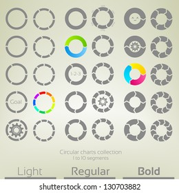 Round graph circular charts, set of thirty design templates, from one to ten arrow shaped segments in three variations of thickness